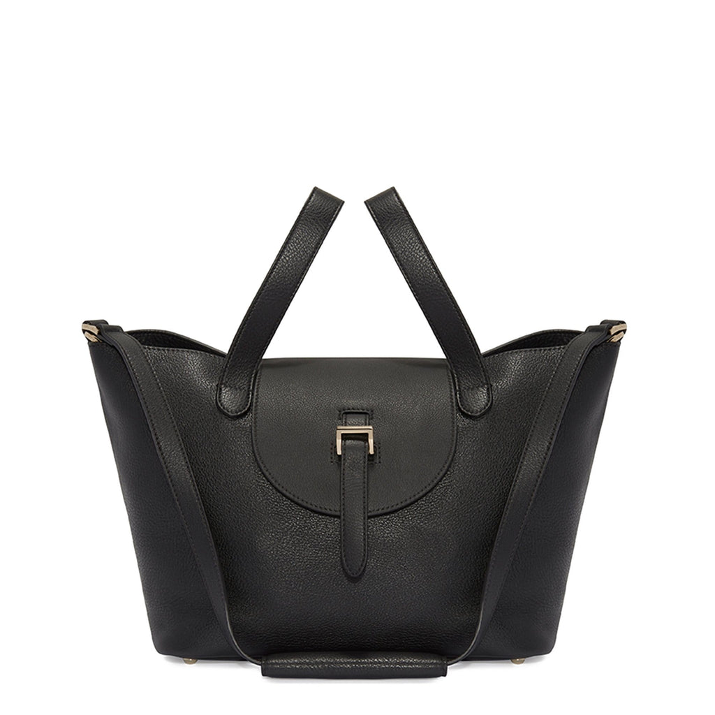 Thela Medium Black Tote Bag with Zipper Closure - meli melo Official