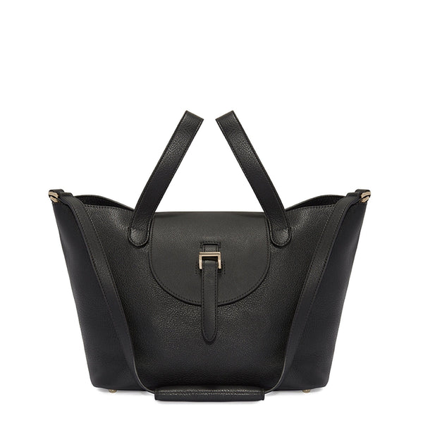 Thela Medium Black Tote Bag with Zipper Closure