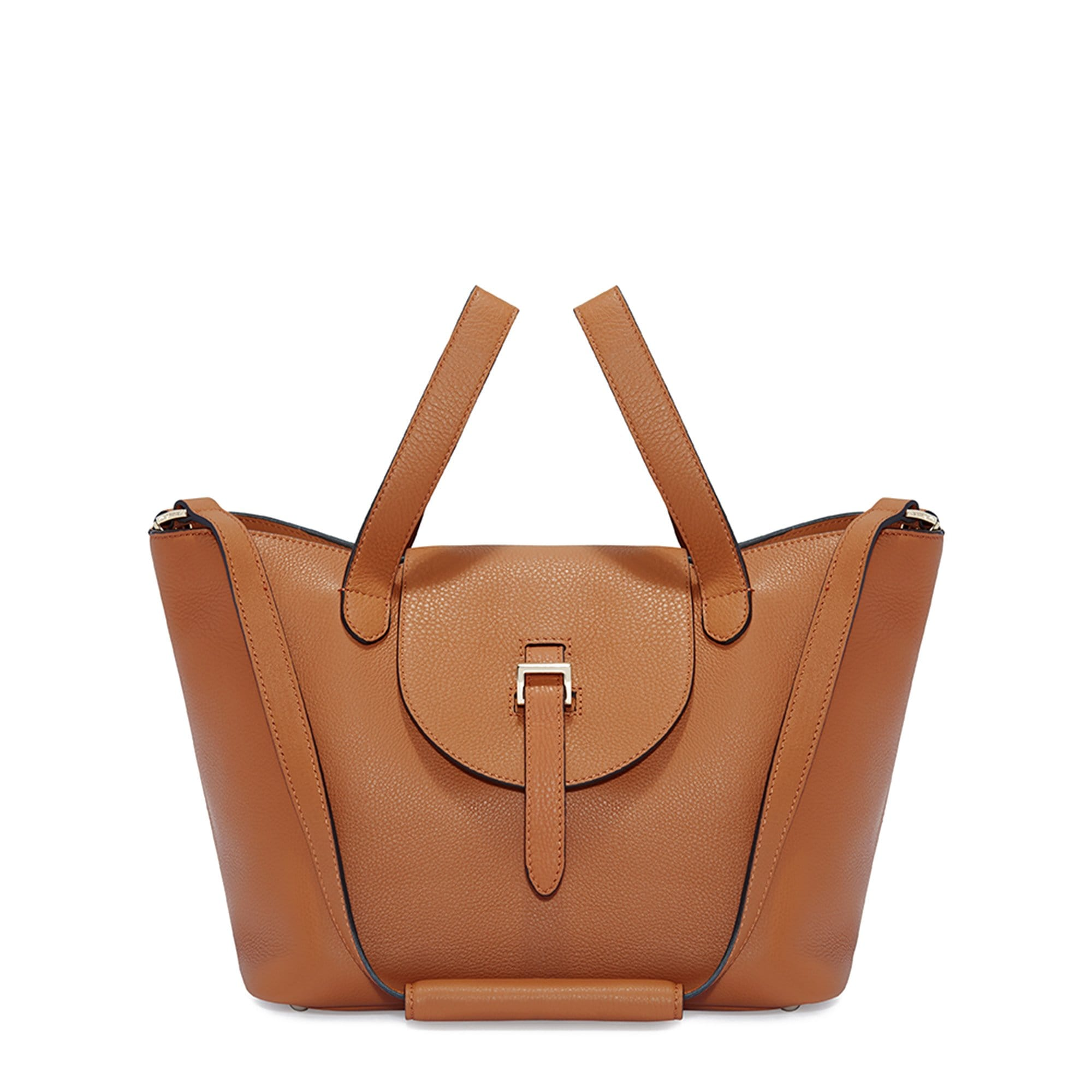 Thela Medium Tan Brown Leather Tote Bag for Women - meli melo Official