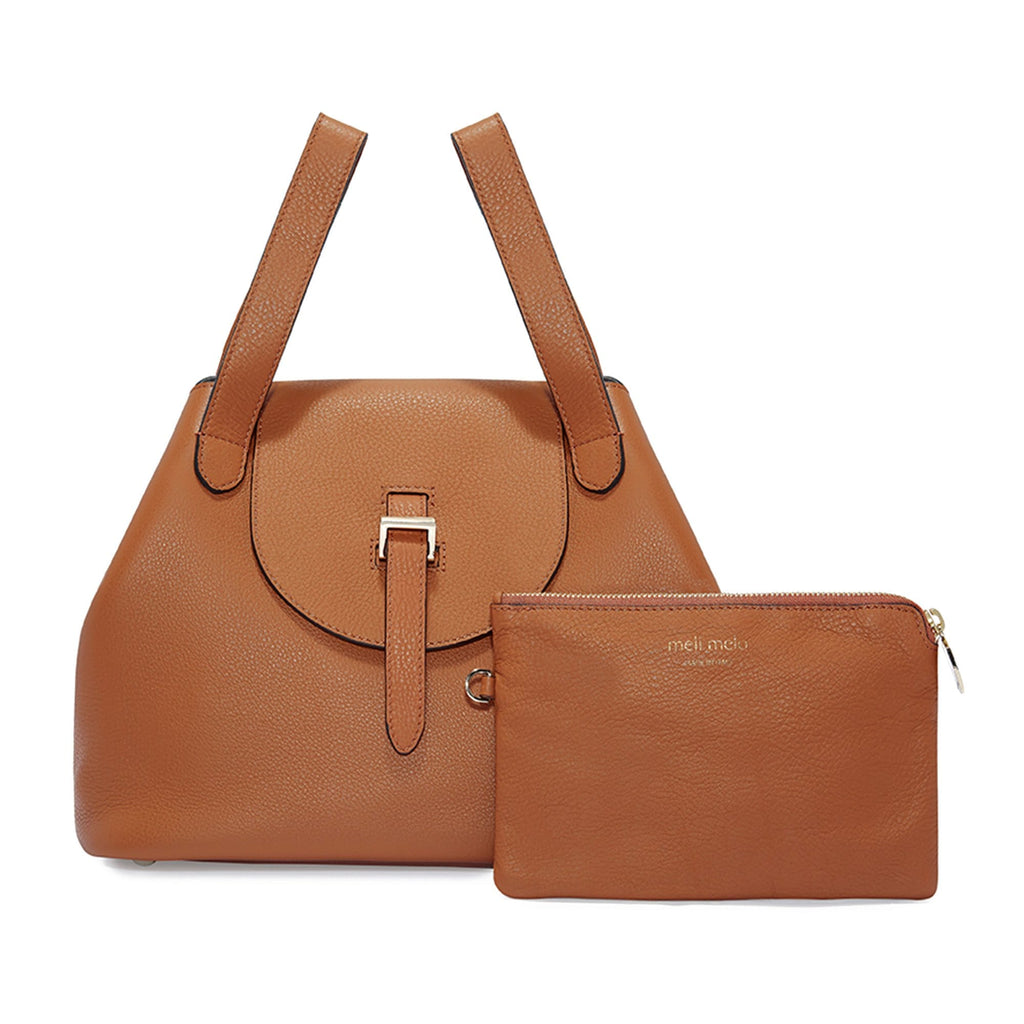 Thela Medium Tan Brown Leather with Zip Closure Tote bag for Women - meli melo Official
