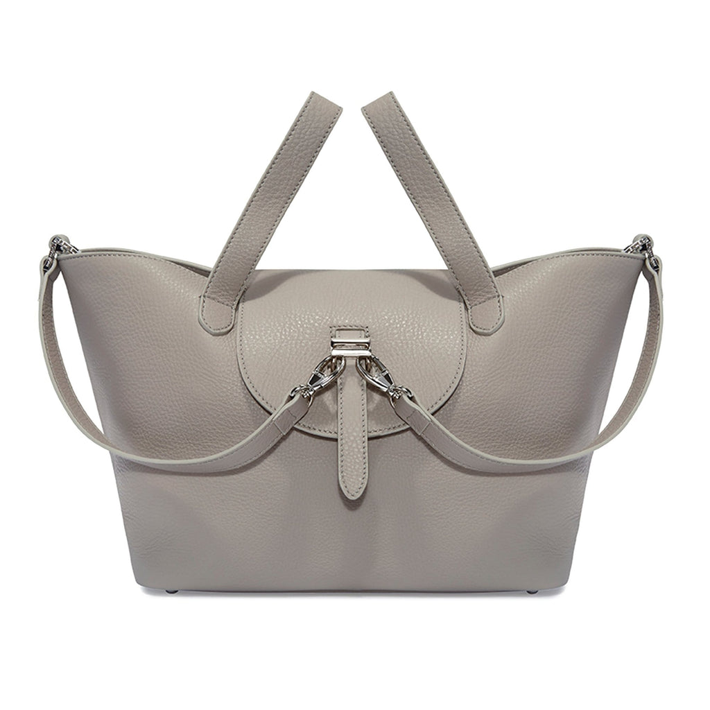 Thela Medium Taupe Grey Leather with Zip Closure Tote Bag for Women - meli melo Official
