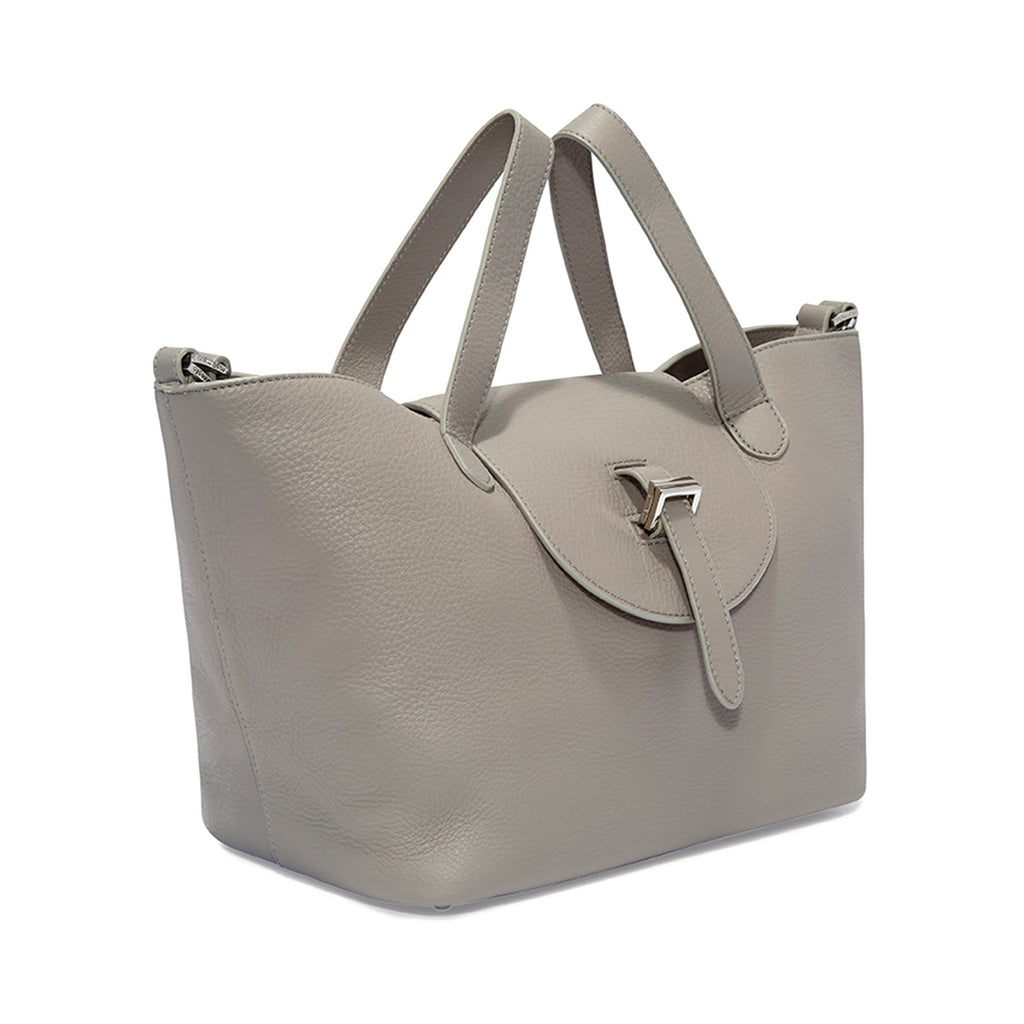 Thela Medium Taupe Grey Leather Tote Bag for Women - meli melo Official
