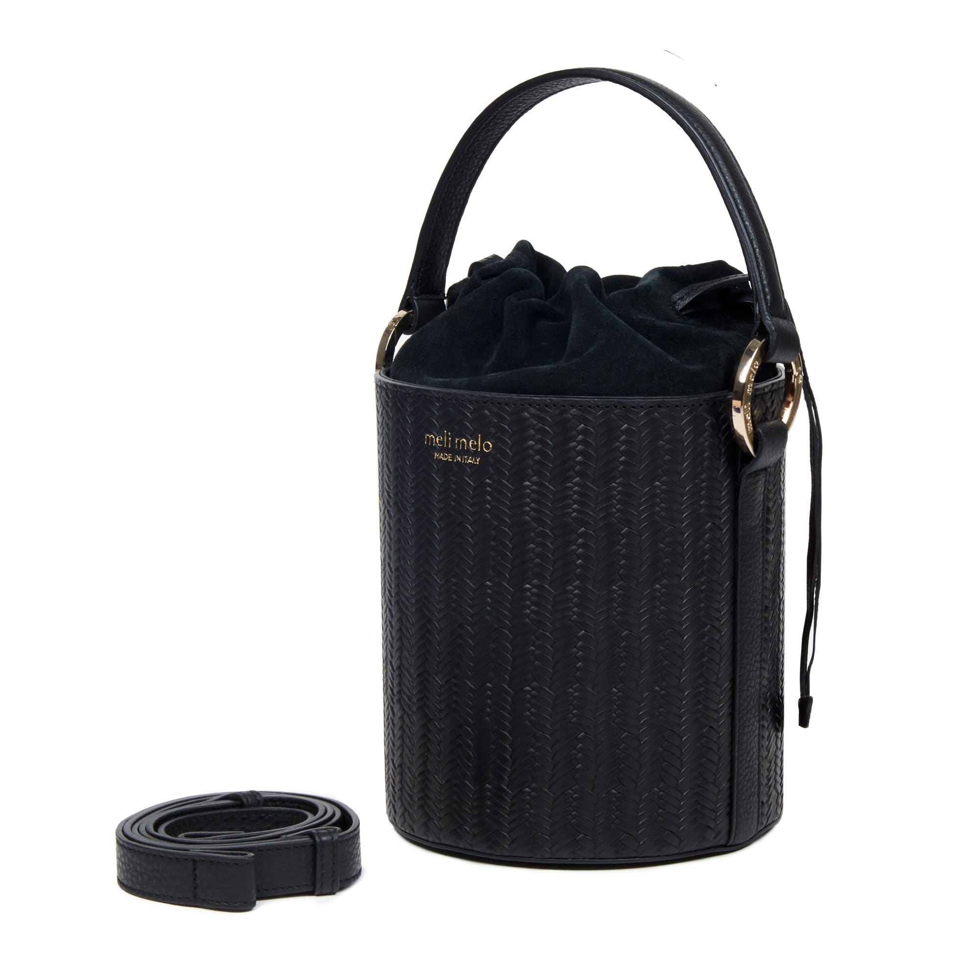 Santina Black Woven Bucket Bag for Women