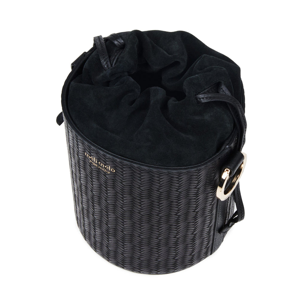 Santina Black Woven Bucket Bag for Women - meli melo Official