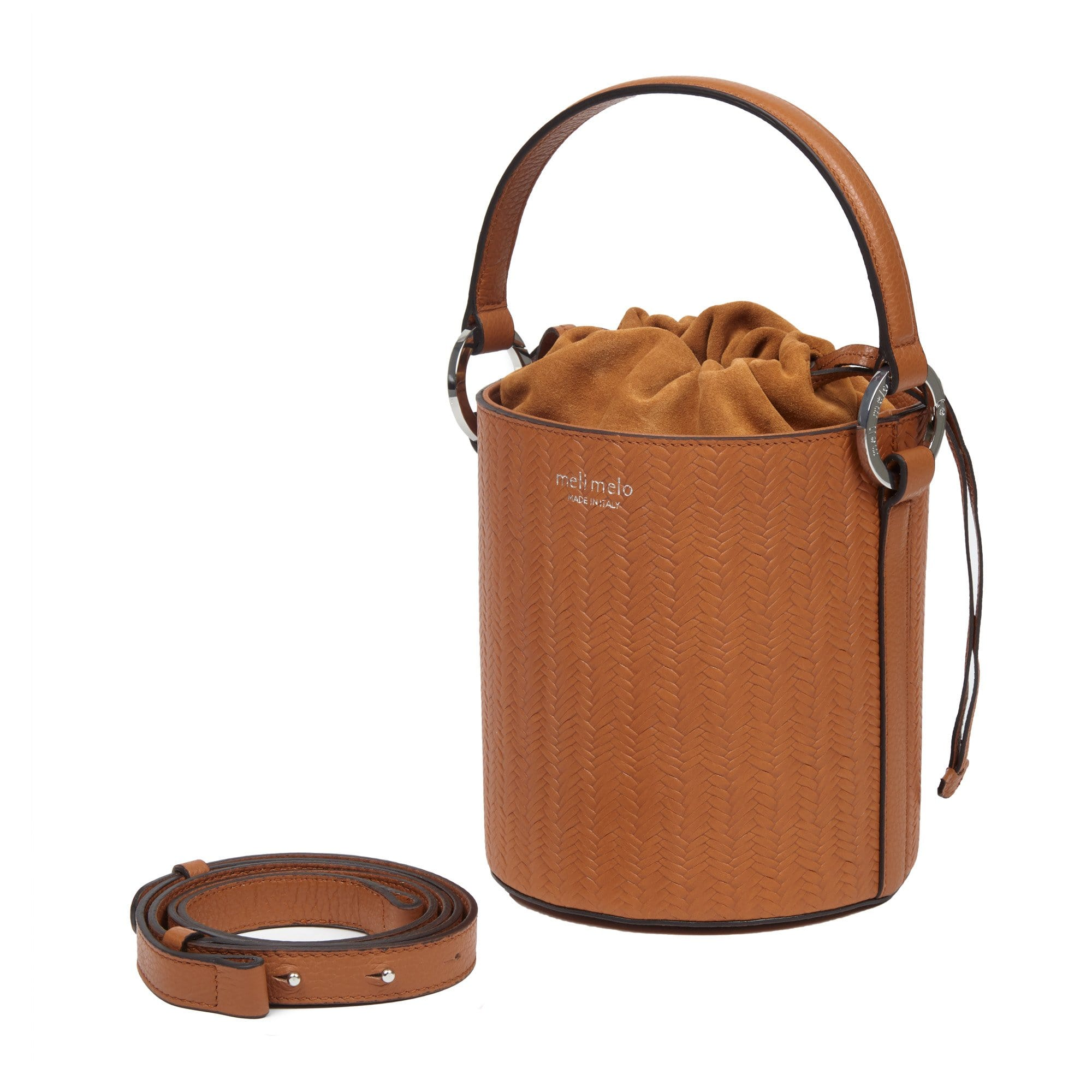 Santina Tan Woven Leather Bucket Bag for Women