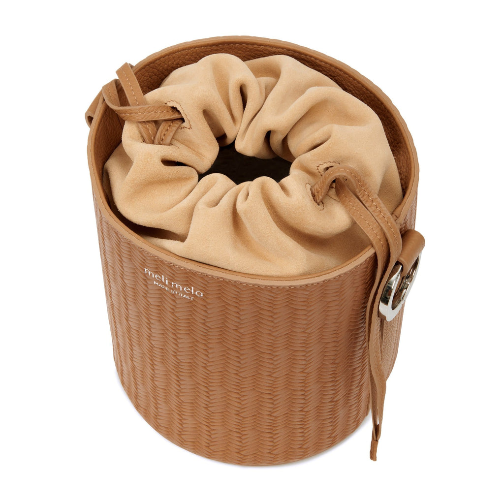 Santina Light Tan Woven Bucket Bag for Women- with Thick Strap - meli melo Official