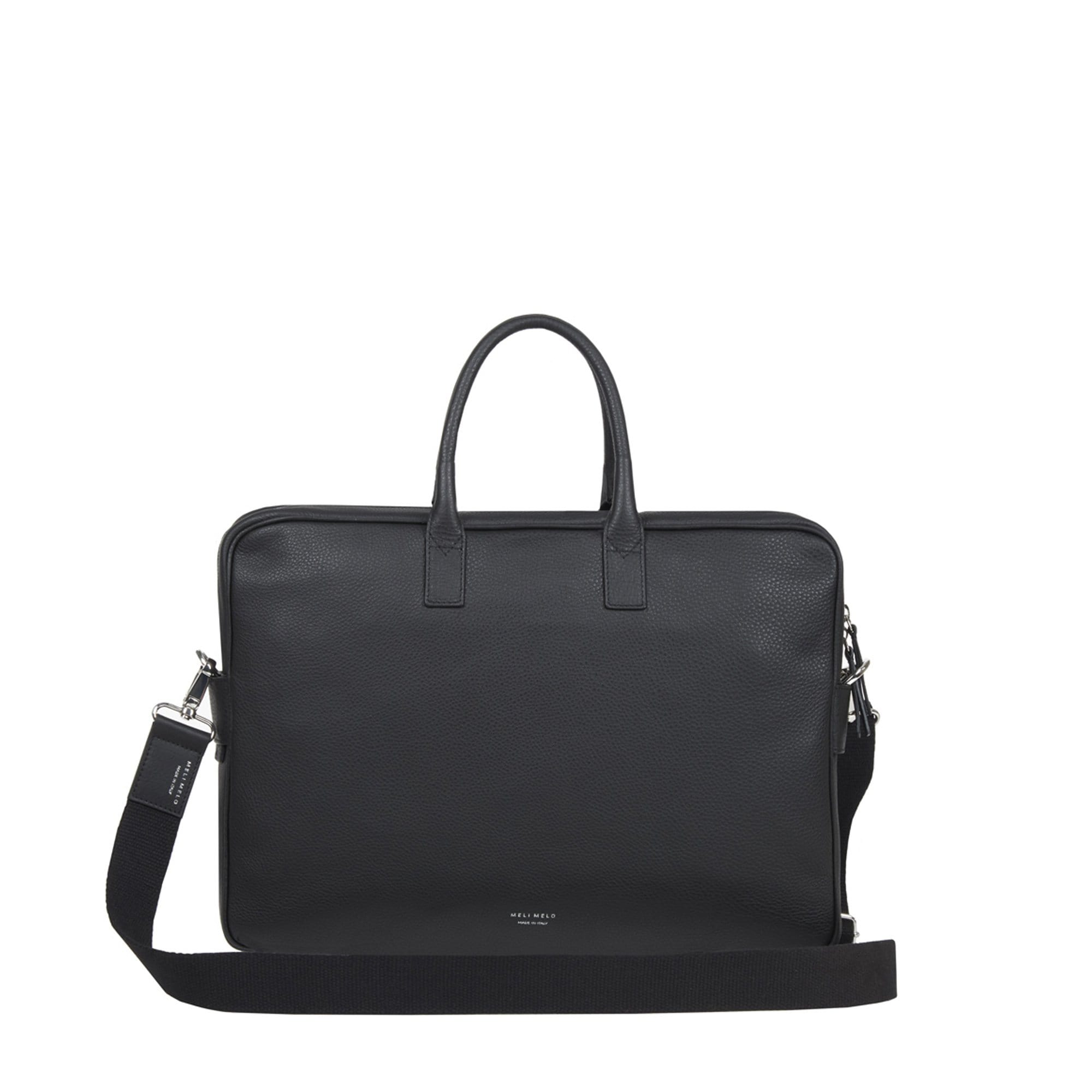 Briefcase in Black Leather for Men - meli melo Official