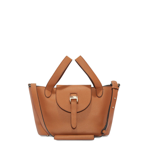 Thela Mini Tan Brown with Zip Closure Cross Body Bag for Women