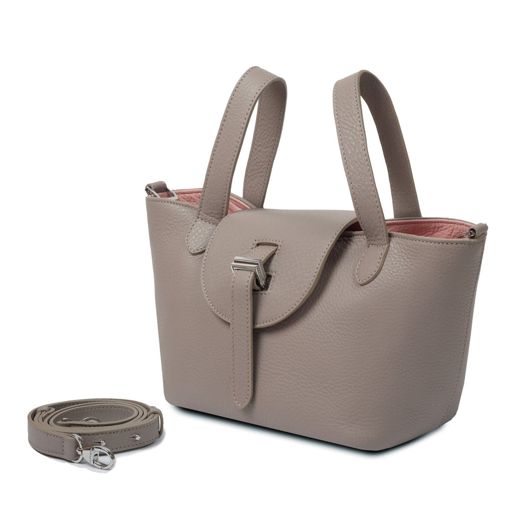 Thela Mini Taupe and Pink with Zip Closure Cross Body Bag for Women - meli melo Official