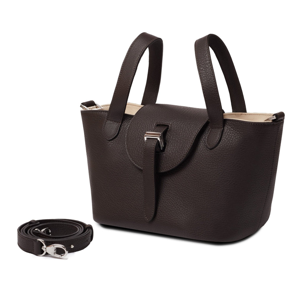 Thela Mini Chocolate Brown & Cream with Zip Closure Cross Body Bag for Women - meli melo Official