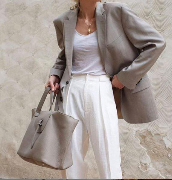 Thela Taupe Grey Leather Tote Bag for Women - meli melo Official