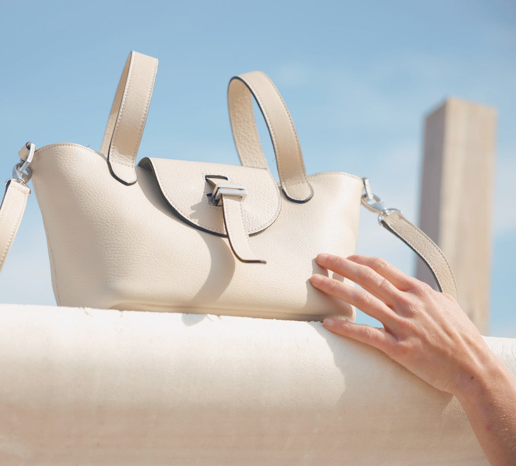Thela Mini Cream and beige suede contrast with Zip Closure Cross Body Bag for Women - meli melo Official