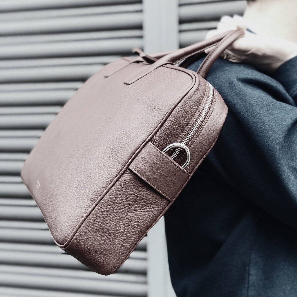 Briefcase in Argan Brown Leather for Men - meli melo Official