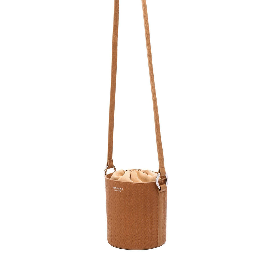 Santina Light Tan Woven Bucket Bag for Women - meli melo Official