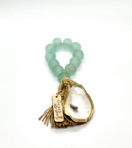The Gilded Shell  -  Tide Pool - 18k Gold Gilded Oyster Shell - Aqua Sea Glass -Product -1