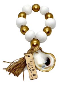 The Gilded Shell - Boho Holiday - Tide Pool - 18k Gold Gilded Oyster Shell - Solid White with Gold -Product -1