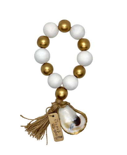 The Gilded Shell - Boho Holiday - Tide Pool - 18k Gold Gilded Oyster Shell - Solid White with Gold -Product -2