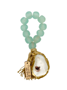 The Gilded Shell - Tide Pool - 18k Gold Gilded Oyster Shell - Aqua Sea Glass -Product -2