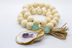 The Gilded Shell - Hospitality Beads - Wooden Beads - Nude Beach Coastline - Aqua Marine Sea Glass - 18k Gold Gilded Oyster Shell