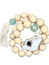 Load image into Gallery viewer, The Gilded Shell - Nude Beach - Chunky Coastline - Aqua Sea Glass - Gold Leafed oyster Shell - Product Photography 2