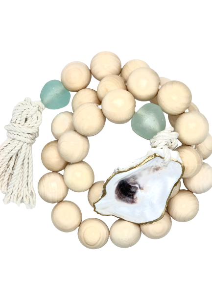 The Gilded Shell - Nude Beach - Chunky Coastline - Aqua Sea Glass - Gold Leafed oyster Shell - Product Photography 2