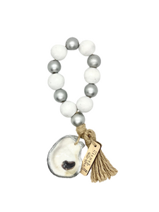 The Gilded Shell - Boho Holiday - Tide Pool - 18k Gold Gilded Oyster Shell - Solid White with Silver -Product -1