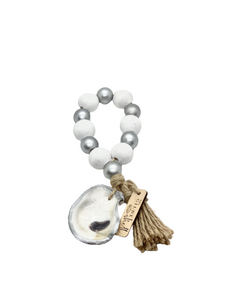 The Gilded Shell - Boho Holiday - Tide Pool - 18k Gold Gilded Oyster Shell - Solid White with Silver -Product -2