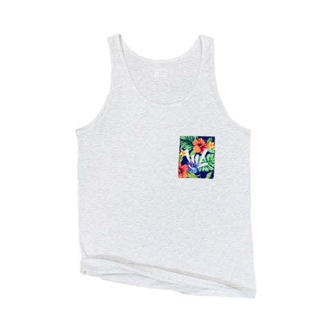 I.L.Y. Aloha Pocket Tank // Athletic Grey