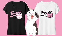 Forever Meow Cat T-Shirts   Black or White.  XS-4XL
