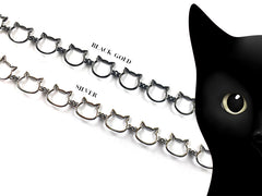 Black Gold Cat Chain Link Jewelry