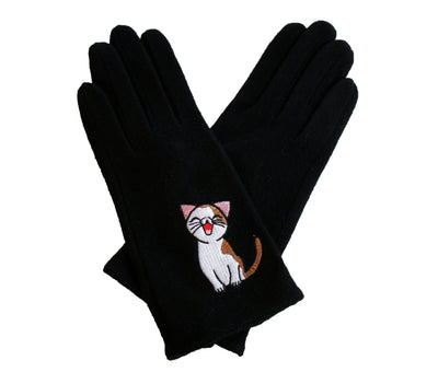 Cat Fashion | Sweet Annie Cat Gloves- black