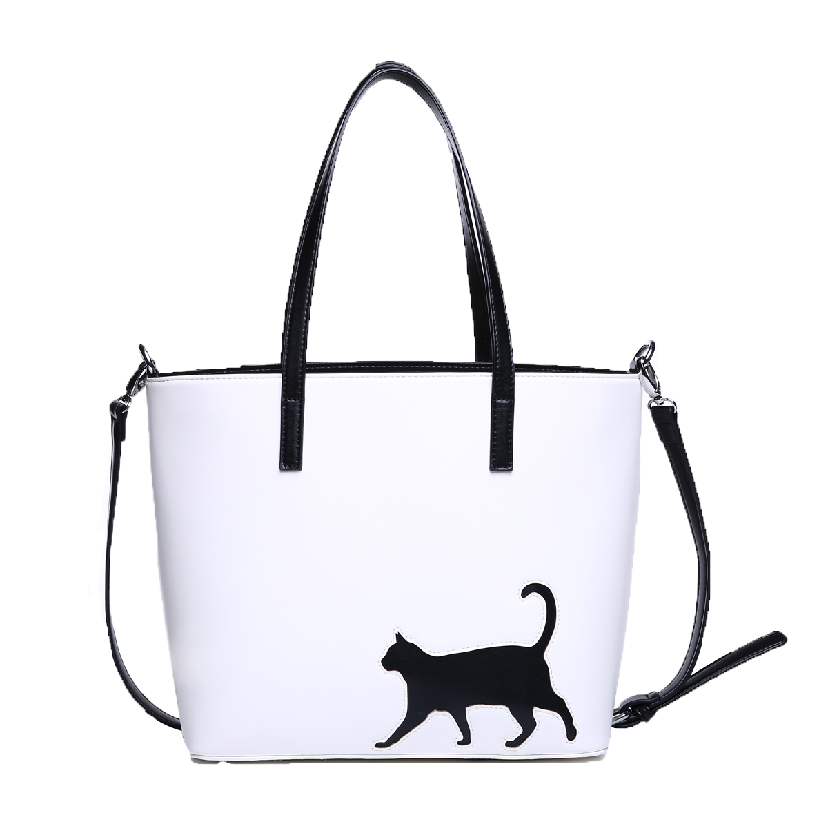 cat purse/cat walk design/white and black