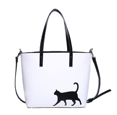 Cat  Tote with Cross-body Strap