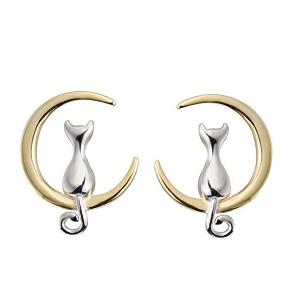 cat earrings -cat on crescent moon/cat jewelry