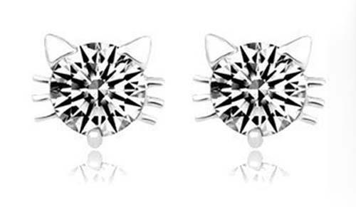 Cat Earrings -Crystal Cat/clear