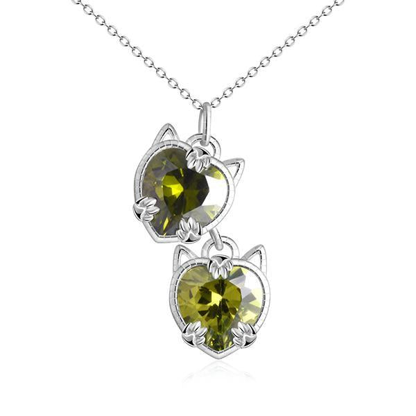 Cat Necklace - Cat Eye Green/crystal