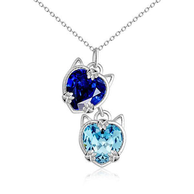 Crystal Cat Charm Necklace | Cat Necklace