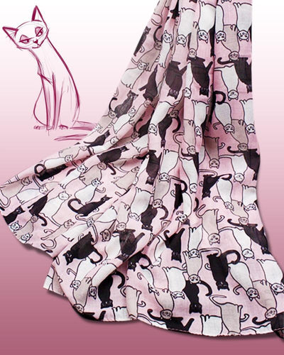 Pink Cat Scarf with cute cat