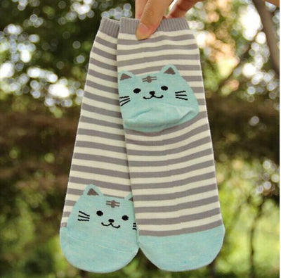 Striped Cat Socks - Triple T Studios - 2