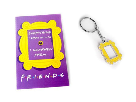Yellow Peephole Frame Keychain and FRIENDS Notebook Set