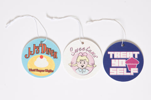 "Parks and Recreation Air Freshener Set of 3 – Sweetums, JJ's Diner, and ""Treat Yo Self"""