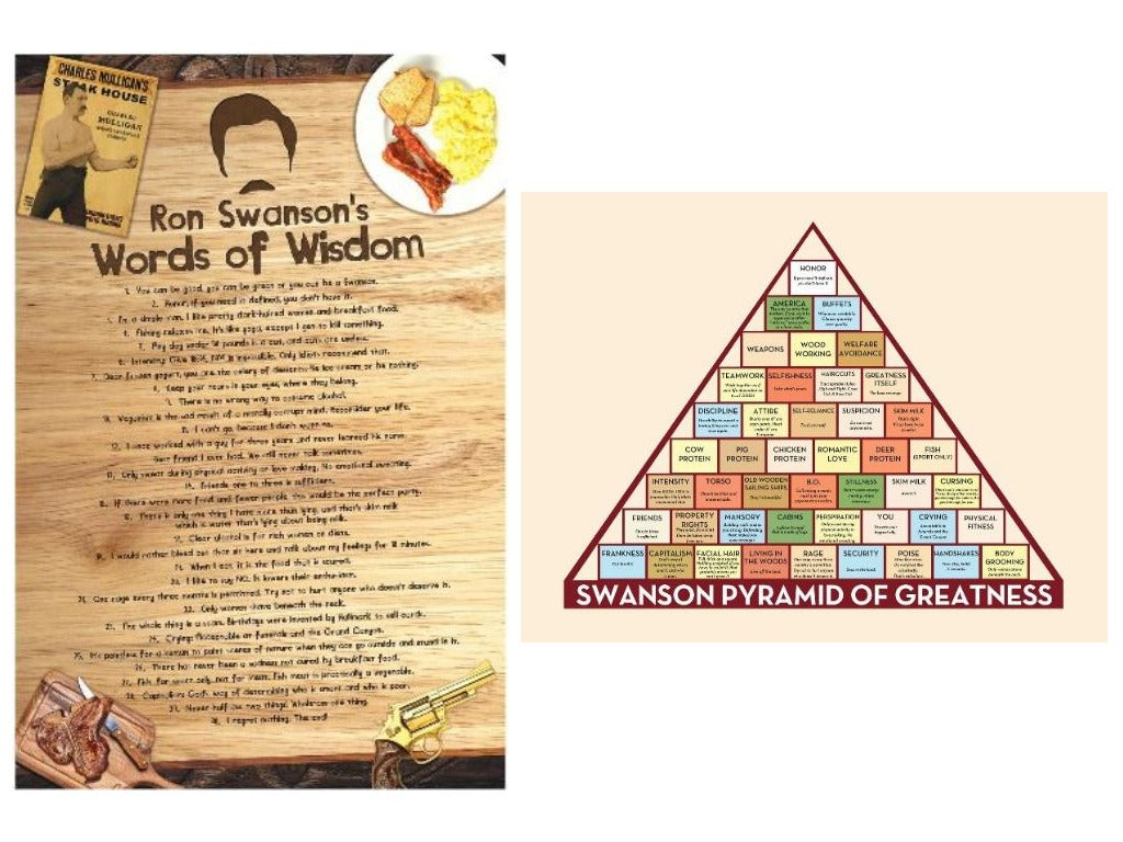 Ron Swanson Inspired Poster Set 2 Words Of Wisdom And Pyramid