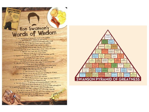 Ron Swanson Inspired Poster Set (2); Words of Wisdom and Pyramid of Greatness
