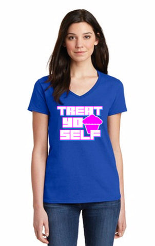 """Treat Yo Self"" Women's V-Neck T-Shirt, inspired by Parks and Recreation"