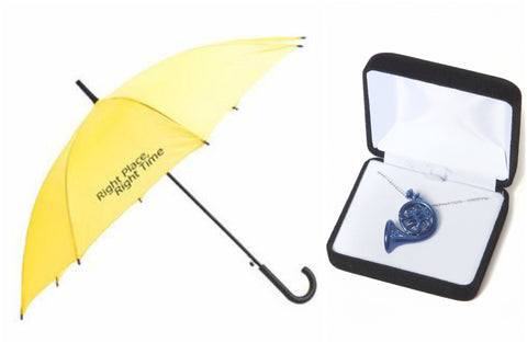 Soul Mate Gift Set, inspired by How I Met Your Mother (Yellow Umbrella & Blue French horn Necklace)