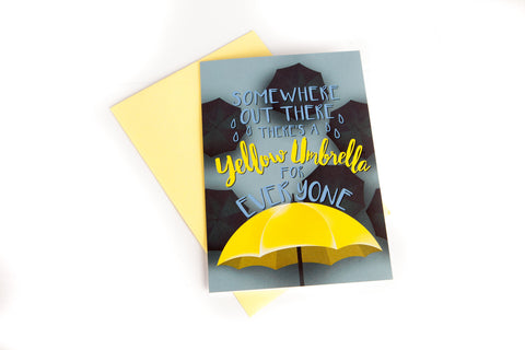 """Somewhere Out There There's A Yellow Umbrella For Everyone"", Romantic Greeting Card, 5 x 7 inches"