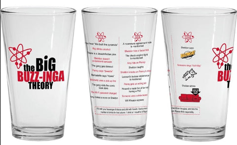 The Big Buzz-inga Drinking Game 16oz Glass, inspired by the Big Bang Theory