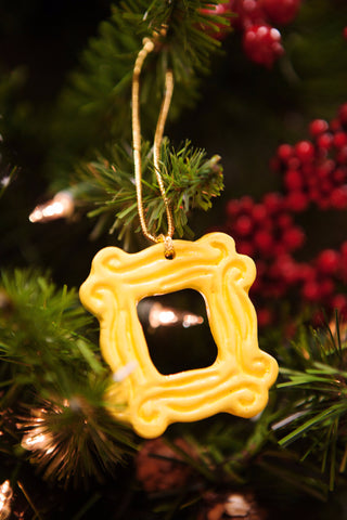 "Yellow Peephole Frame Ornament (2.25"" x 2.25""), inspired by the one on Monica's door on Friends"