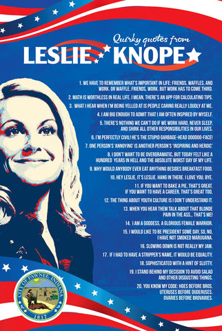 Leslie Knope's Quirky quotes poster Inspired by Parks and Recreation (24 x 16 inches)