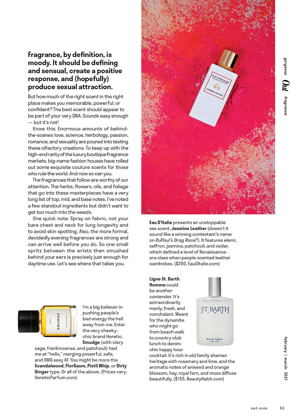 Print article from Out Magazine